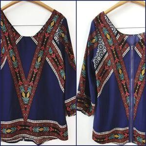 BLUE RAIN Aztec Boho Style Back Zipper Blouse!